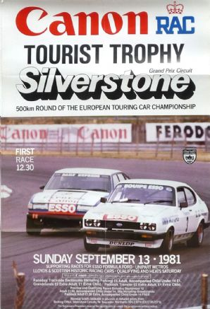 "SILVERSTONE ETC TOURIST TROPHY 1981 Sept 13  Poster 29 x 21"" ( 704 X 504mm) ROVER & CAPRI"